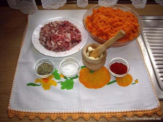 ingredientes para el picadillo de calabaza